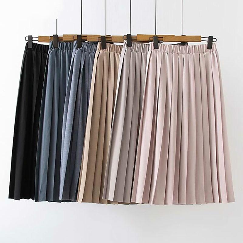 2020 Spring Pleated Skirt Women Pink High Waist Midi Skirt Summer Plus Size Casual Skirt Elastic Waist