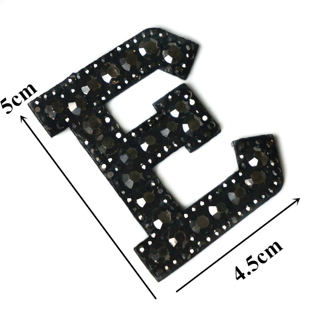 Черные стразы 26 букв алфавита ABC пришить железные нашивки блестящие Значки для имени DIY платье джинсы Аппликации украшения - Цвет: E