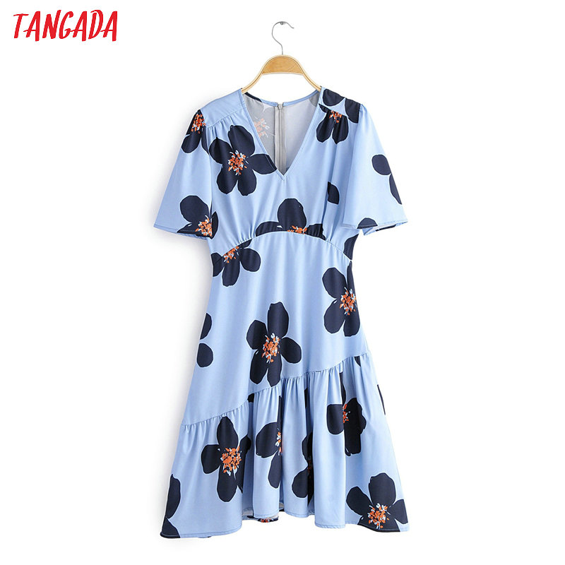 Tangada Fashion Women Blue Floral Print Summer Dress Tunic V Neck Short Sleeve Ladies Vintage Beach Dress Vestidos 2F29