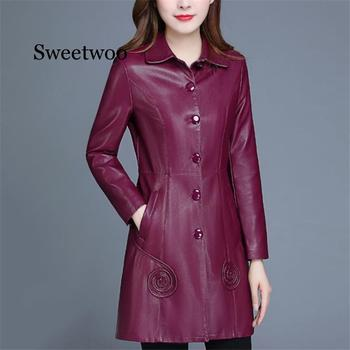 winter parka women m 4xl plus size khaki red black jacket 2019 new korean long sleeve standing collar slim warmth clothing jd521 Leather Jacket Women Wine Red Long PU Faux Leather Coat 2020 New Autumn Winter Korean Slim Black XL-6XL Plus Size Clothing