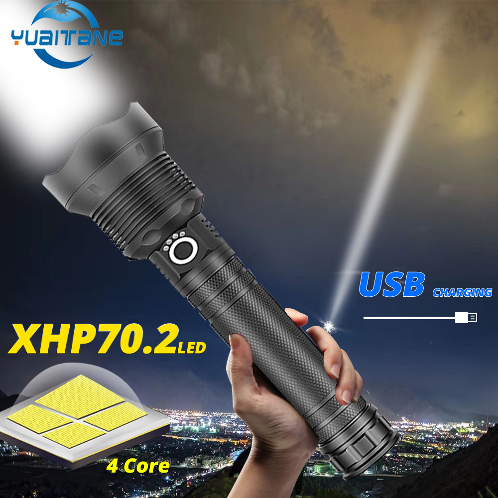 Led Torch 150000 Lumens Xhp70 2 Most Powerful Led Flashlight USB Zoom Tactical Flashlight Xhp50 18650 Or 26650 Rechargeable Battery Flashlight-Black/_Xhp70.2 A