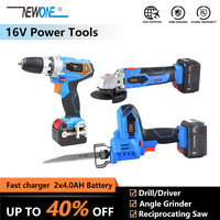16V Electric Lithium Cordless Power Tool Dill/Driver & Angle Grinder & Reciprocating Saw 3 tools Combo kit with 2X 4.0Ah Battery