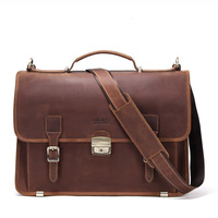 14 Inch Notebook Computer luxury Genuine Leather mens brown laptop messenger bag Business Affairs designer briefcases handbags