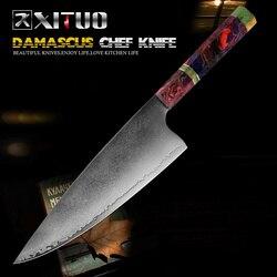 Cuchillo de Chef XITUO 67 capas de acero de Damasco japonés 8 pulgadas cuchillas afiladas para matar cocina herramienta de cocina mango de madera maciza