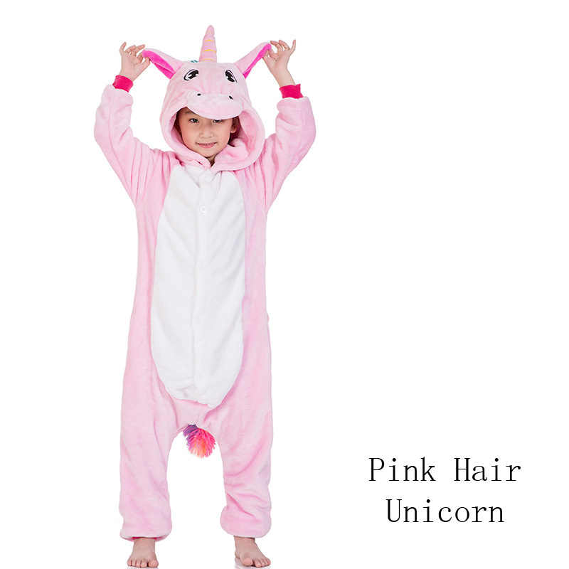 Kigurumi unicórnio onesies crianças inverno onesies meninas meninos pijamas conjuntos ponto tigre leão animal pijamas crianças onesies