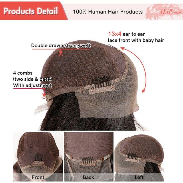 Głęboka fala kręcone koronki przodu peruki dla kobiet 13x4 wstępnie oskubane peruki z ludzkich włosów peruki z krótkim bobem Ali królowa brazylijski Remy koronki część peruki