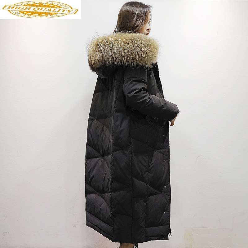 Down Jacket Woman Hooded Korean Parka Winter Coat Women Clothes 2019 Raccoon Fur Collar Long Coats Chaqueta Mujer MY1536