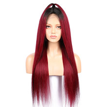 Perruque Lace Front Wig Remy naturelle lisse ombrée | Cheveux longs, rouge, 99J, 13x6, faux cuir chevelu, pre-plucked, nœud Invisible et blanchis, 180(China)