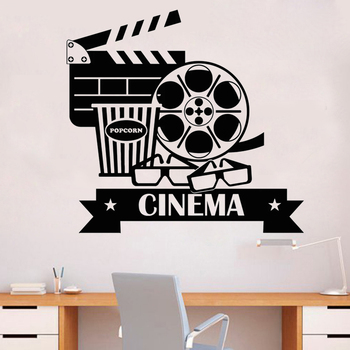Vinyl Wall Decal Cinema Movie House Popcorn Cinematography Stickers home decor Unique Gift Bedroom Decal decoration HY547 image