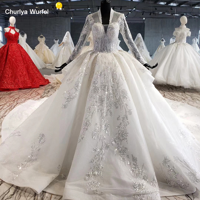 HTL1028 Wedding Dress Long Sleeve Lace Top 2020 V Neck Appliques Sequined White Women Wedding Gown With Train Vestidos De Noiva