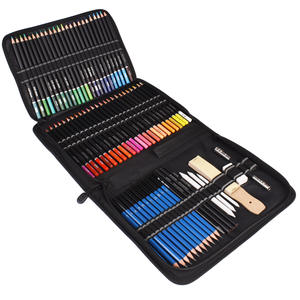 Pencils-Set Art-Supplies Carrying-Case Drawing Soft-Core Artist Sketch Professional Colored
