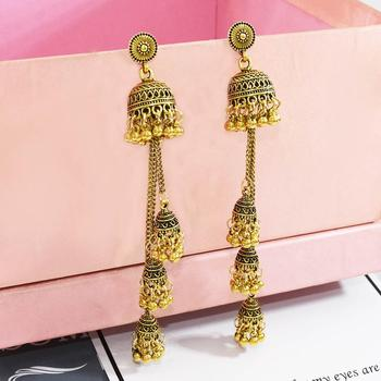 Inlove 2020 New Women's Boho Gold Sliver Long Chain Vintage personality Tassel Elegant Metal Bell Earrings For Woman Jewelry image