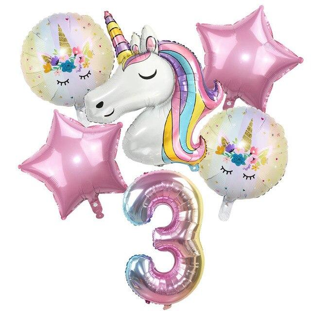 6pcs Rainbow Unicorn Balloon 32 inch Number Foil Balloons 1st Kids Unicorn Theme Birthday Party Decorations Baby Shower Globos 1