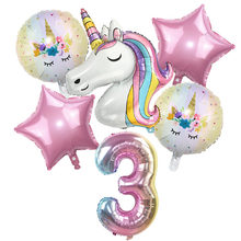 Globos de unicornio arcoíris para niños, Globos de aluminio con números de 32 pulgadas, tema de unicornio decoraciones para fiesta de cumpleaños, Baby Shower, 6 uds.