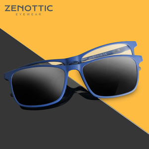 Image 1 - ZENOTTIC 2 in 1Polarized Sunglasses Magnetic Clip On Optical Glasses For Men Bendable Square Spectacl Clip On Shade Eyeglasses