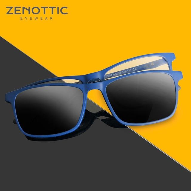 ZENOTTIC 2 in 1Polarized Sunglasses Magnetic Clip On Optical Glasses For Men Bendable Square Spectacl Clip On Shade Eyeglasses