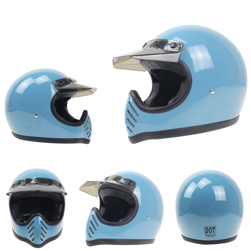 DOT Approved Professional Thompson Vintage Moto-3 Handmade Motorcycle Helmet Full Face Light Weight Fiberglass Shell Cascos