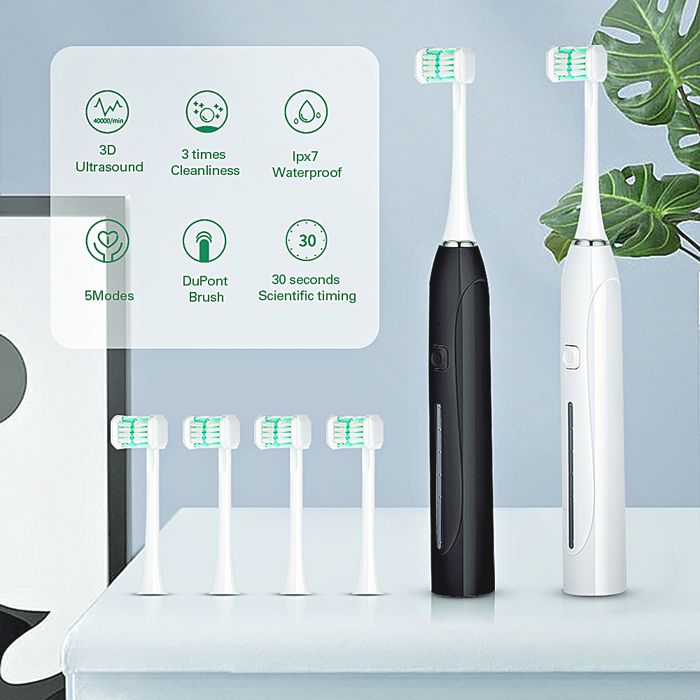 5 Mode Sonic Electric Toothbrush Three-Side USB Rechargeable 3D Ultrasonic Toothbrush U-Shaped Timer Brush Teeth Head For Adults