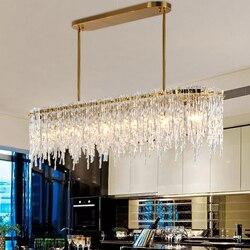 Postmodernistyczne żyrandol do restauracji lody seria prosta sztuka drążek led luksusowy żyrandol prostokątny salon nowe oświetlenie w Wiszące lampki od Lampy i oświetlenie na