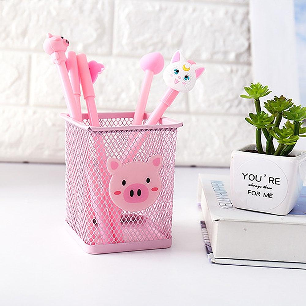 Розовый металлический держатель для ручек, офисный Органайзер, косметический квадратный карандаш, подставка для ручек, Канцелярский