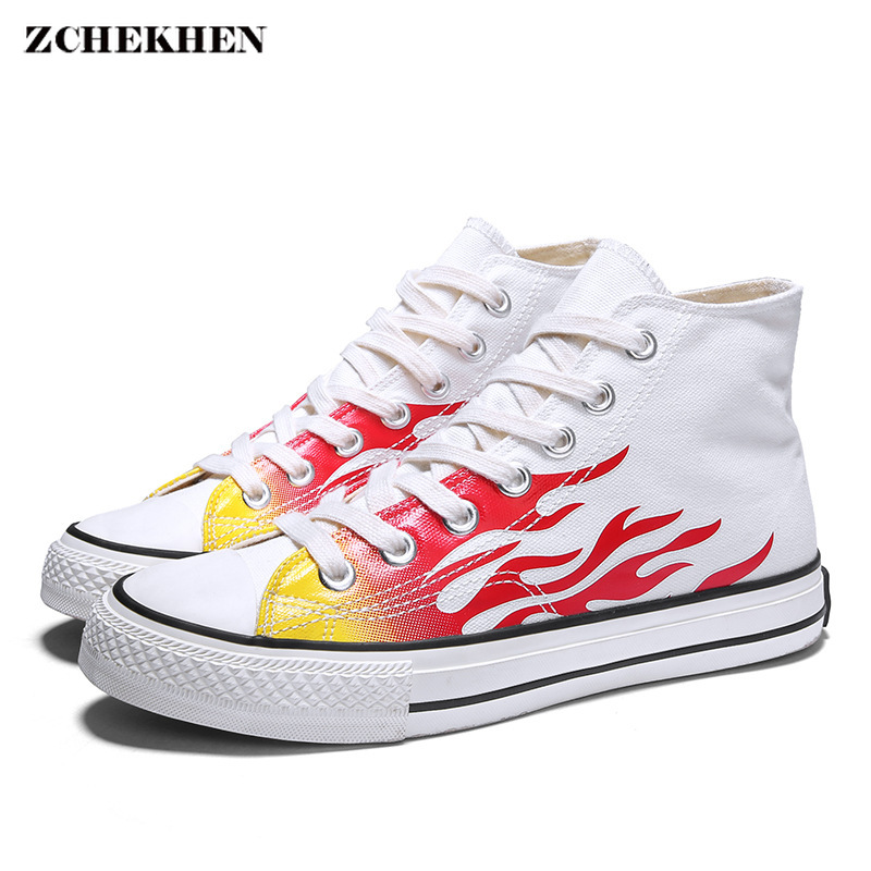 2019 Shoes Men Autumn Classic Canvas Shoes High-Top Embroidery Flame Fashion Casual Shoes Male Flat Lace-up Breathable Sneakers