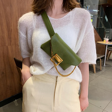 Snakeskin Pattern Small Belt Bag Female Chain Mini Chest Bag Mobile Phone Bag Accessories Thin Belt Black Small Bag Shoulder Bag