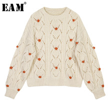 [EAM] Hollow Out Knitting Sweater Pullovers Loose Fit Round Neck Long Sleeve Women New Fashion Tide Autumn Winter 2019 1D391(China)
