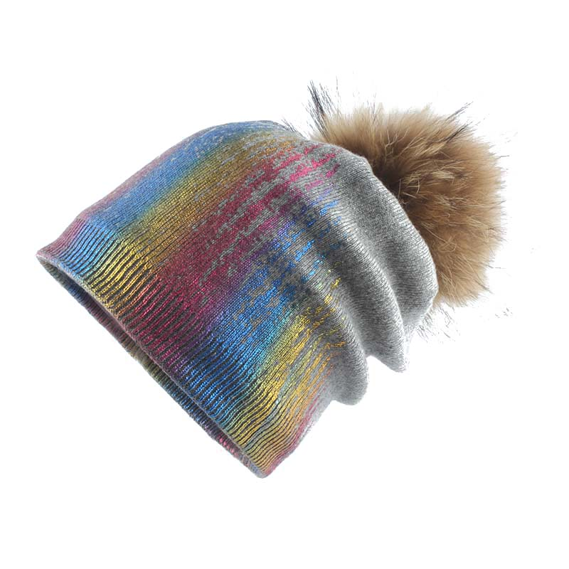 Colorful Metallic Print Beanie Winter Real Fur Pompom Hats For Women Casual Hip Hop Cap Cashmere Wool Skullies Hat