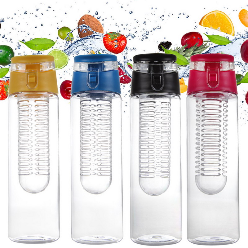 5 700/800 ml Portable Infuser Water Bottle Sports Lemon Juice Bottle Flip Lid for kitchen table Camping travel outdoor image