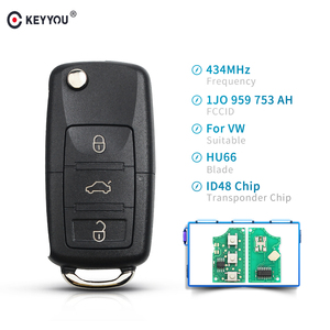 KEYYOU 1J0 959 753 AH 3 Buttons Remote Key For VW SKODA Seat Roomster Fabia Superb Car Remote Control Key 434MHz 48 Chip Fob