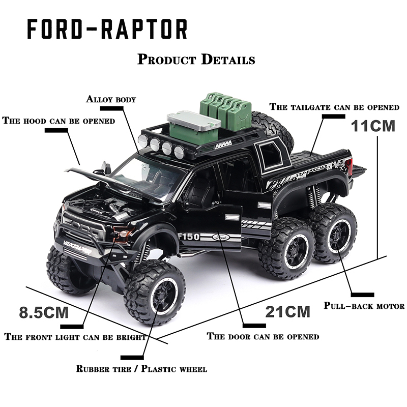 Ford F150 Raptor Pickup Truck Model Car with Sound and Lights 4