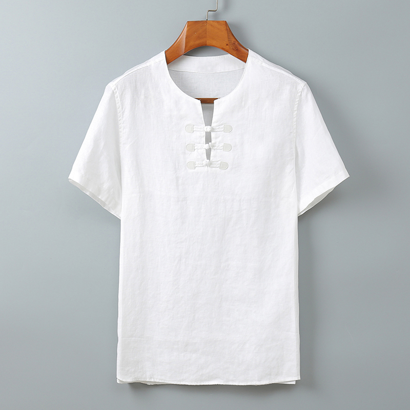 Short Sleeve Shirts Men 100%Linen Chinese Style 2020 Summer Collarless Solid White Pullover Casual Shirt