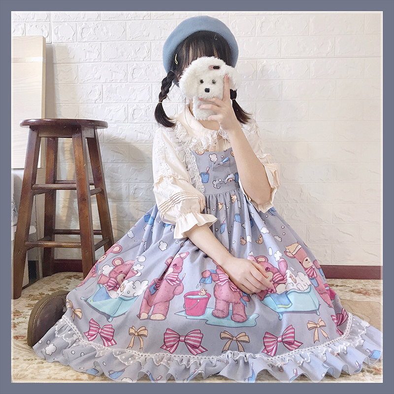 Japanese Lolita Dress Vintage Lace Bowknot Cute Printing Kawaii Dress High Waist Victorian Dress Kawaii Girl Gothic Lolita Jsk