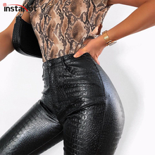 InstaHot Black High Waist Pencil Faux Leather Pants Women Casual Elegant Carving Print Ankle Length Pants Streetwear Trousers cheap Polyester Ankle-Length Pants 90507 Solid Pencil Pants Flat skinny Painted Vintage Zipper Fly S M L Red Black Grey Carving Printed Leather pants