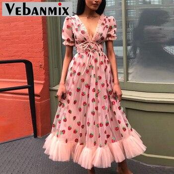 цена на Sexy V-Neck Belt Strawberry Embroidery Cascading Ruffle Design V-neck Lace Dress Women Short Sleeve Sweet Maxi Holiday Dresses