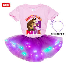Girls Tutu Dress Sets Toddler Girl Summer Clothes Party Design Your Name Number Chill Sets Kids Gift 5 Year Old Birthday Outfit