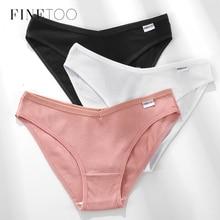 FINETOO Cotton Underpants M-2XL Women Panties Sexy V Waist Underwear Low-Rise Female Briefs Soft Underwear Female Lingerie 2020
