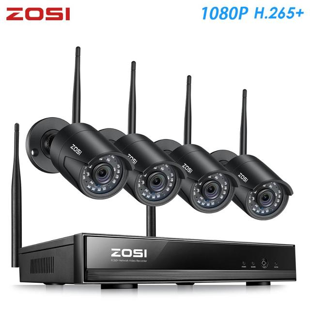 ZOSI H.265 1080P 8CH CCTV система видеонаблюдения беспроводная WIFI IP наружная камера NVR комплект HDD Удаленный просмотр в ПК монитор