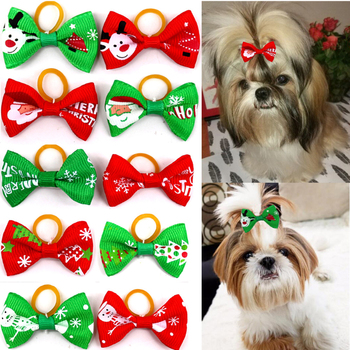 Red Green 100PC/Lot Pattern Printed Christmas Puppy Dog Cat Bell Bow Ties Bowties Holiday Neckties Pet Dog Accessories BS061