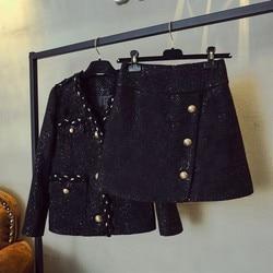 Frühling Herbst Neue V-ausschnitt Einreiher Langarm Jacken Hohe Taille Slim Fit A-linie Röcke Qualitäten Damen Tweed 2Pcs set