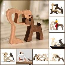 Figurine artisanale de chiot en bois pour la famille, ornement de Table de bureau, modèle de sculpture, décoration créative pour la maison et le bureau, sculpture d'animal de compagnie