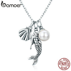 BAMOER 100% 925 Sterling Silver Romantic Mermaid-Legend Shell Pendant Necklaces for Women Sterling Silver Jewelry Gift SCN237