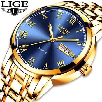 цена на LIGE Mens Watches Top Brand Luxury Full Steel Quartz Business Gold Watch Military Sport Waterproof Wrist Watch Relogio Masculino