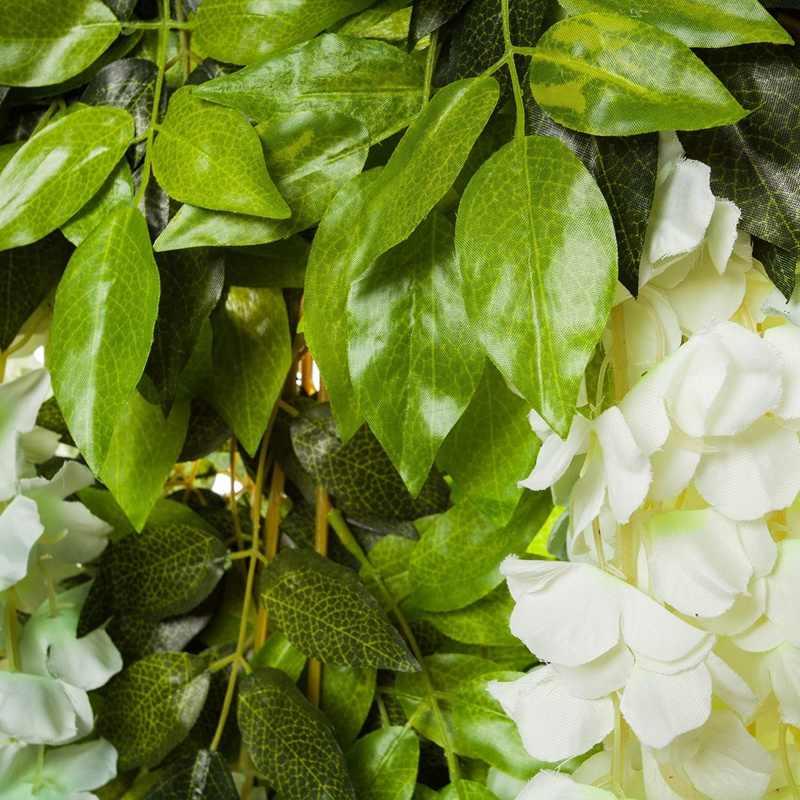 12 Pack (43.2 Kaki) buatan Wisteria Vine Palsu Wisteria Gantung Garland Sutra Panjang Gantung Bush Bunga String Rumah Pesta Weddin