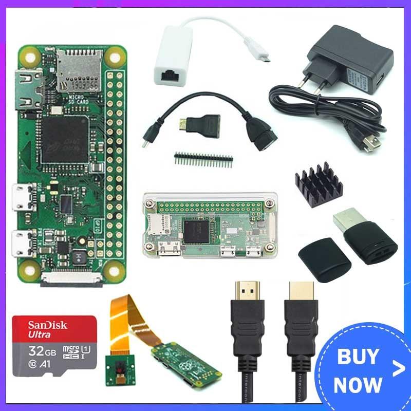 Raspberry Pi Zero W Kit + Camera +Acrylic Case +HDMI+Power+ 32GB SD Card +RJ45 Network Card +Heat Sink +GPIO Header + Mini HDMI