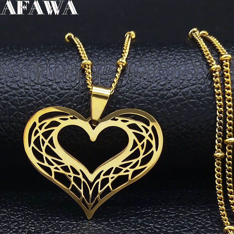 Heart Stainless Steel Necklace Women Gold Color Love Necklaces Jewelry Valentine's Day Gift inoxidable joyeria mujer N620S01