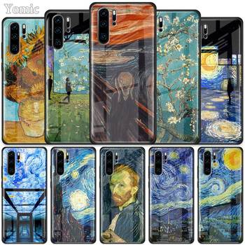 paintings Starry Night Van Gogh Tempered Glass Case for Huawei P30 P40 Pro Plus P20 Lite P Smart 2019 Nova 5i 5T 5z 7i Cover 50mm van gogh art paintings refrigerator stickers starry night sunflowers fridge magnet landscape glass crystal cabochon decor