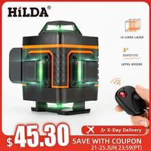 HILDA 12/16 линии 3/4D лазерный уровень самонивелирующийся 360 горизонтальный и вертикальный крест супер мощный зеленый лазерный уровень