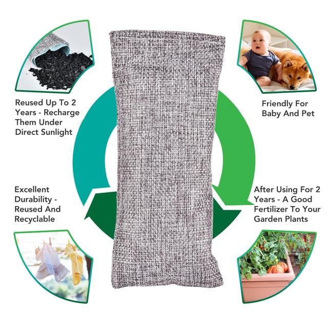10pcs bamboo charcoal bag natural