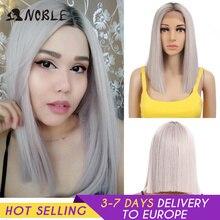 Asil Cosplay sentetik dantel ön peruk kısa Bob düz 14 inç pembe dantel ön sarışın peruk dantel ön peruk s siyah kadın